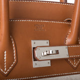 Hermes Fauve Barenia and Toile Birkin 30cm Palladium Hardware (Preloved - Excellent)