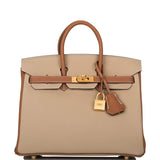 Hermes Horseshoe Stamp (HSS) Bi-Color Trench and Gold Togo Birkin 25cm Brushed Gold Hardware