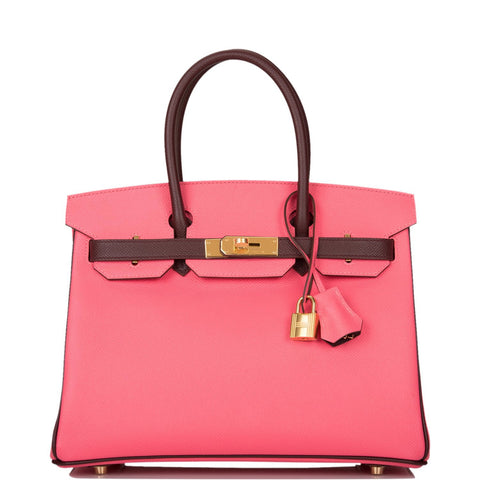 Hermes Horseshoe Stamp (HSS) Bi-Color Rose Azalee and Bordeaux Epsom Birkin 30cm Gold Hardware