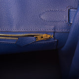 Hermes Horseshoe Stamp (HSS) Bi-Color Anemone and Bleu Electric Togo Birkin 30cm Brushed Gold Hardware