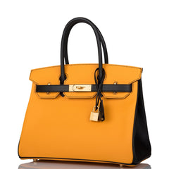 Hermes Horseshoe Stamp (HSS) Bi-Color Jaune D'Or and Black Epsom Birkin 30cm Brushed Gold Hardware