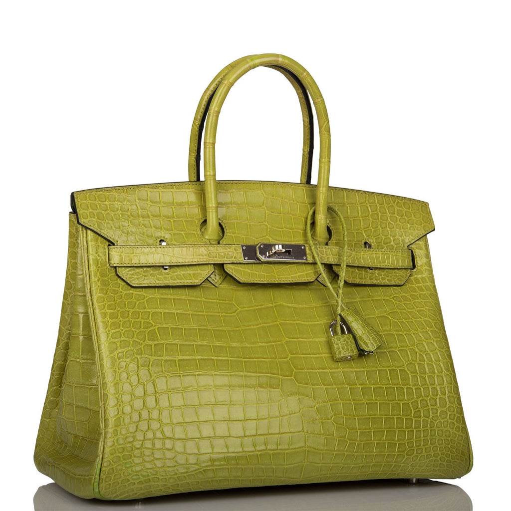 Hermes Vert Anis Shiny Porosus Crocodile Birkin 35cm Palladium Hardware (Preloved - Mint)