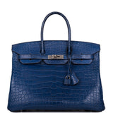 Hermes Bleu de Malte Matte Alligator Birkin 35cm Palladium Hardware (Preloved - Excellent to Mint)
