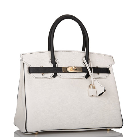 Hermes Horseshoe Stamp (HSS) Bi-Color White and Black Clemence Birkin 30cm Permabrass Hardware