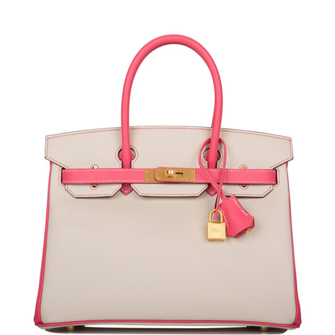 Hermes Horseshoe Stamp (HSS) Bi-Color Craie and Rose Azalee Epsom Birkin 30cm Brushed Gold Hardware