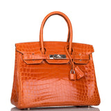 Hermes Pain D'epice Shiny Niloticus Crocodile Birkin 30cm Palladium Hardware (Preloved - Excellent to Mint)