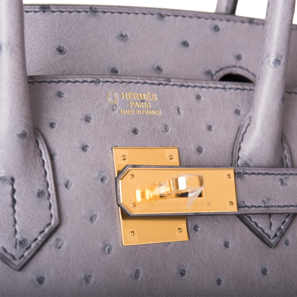Hermes HSS Bi-Color Gris Agate And Blue Iris Ostrich Birkin 30cm Gold Hardware