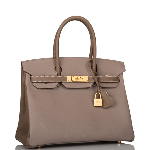 Hermes Horseshoe Stamp (HSS) Bi-Color Gris Asphalte And Etoupe Epsom Birkin 30cm Brushed Gold Hardware