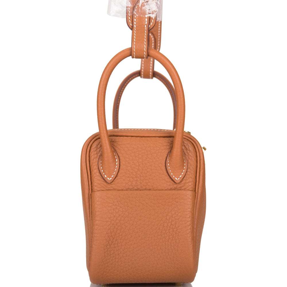 Hermes Gold Clemence Mini Lindy 16cm Gold Hardware