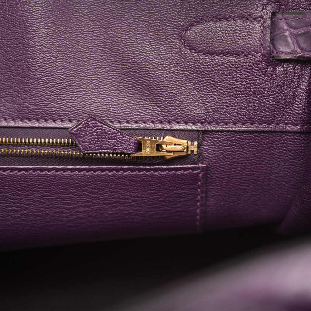 Hermes Amethyst Matte Alligator Birkin 35cm Gold Hardware (Preloved - Excellent to Mint)