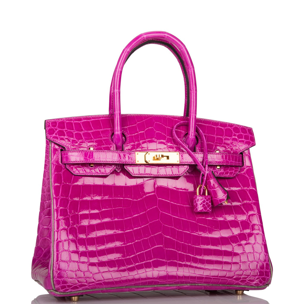 Hermes Horseshoe Stamp (HSS) Bi-Color Rose Scheherazade and Gris Shiny Niloticus Crocodile Birkin 30cm Gold Hardware
