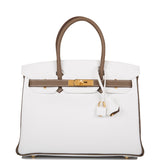 Hermes Horseshoe Stamp (HSS) Bi-Color White and Etoupe Clemence Birkin 30cm Gold Hardware