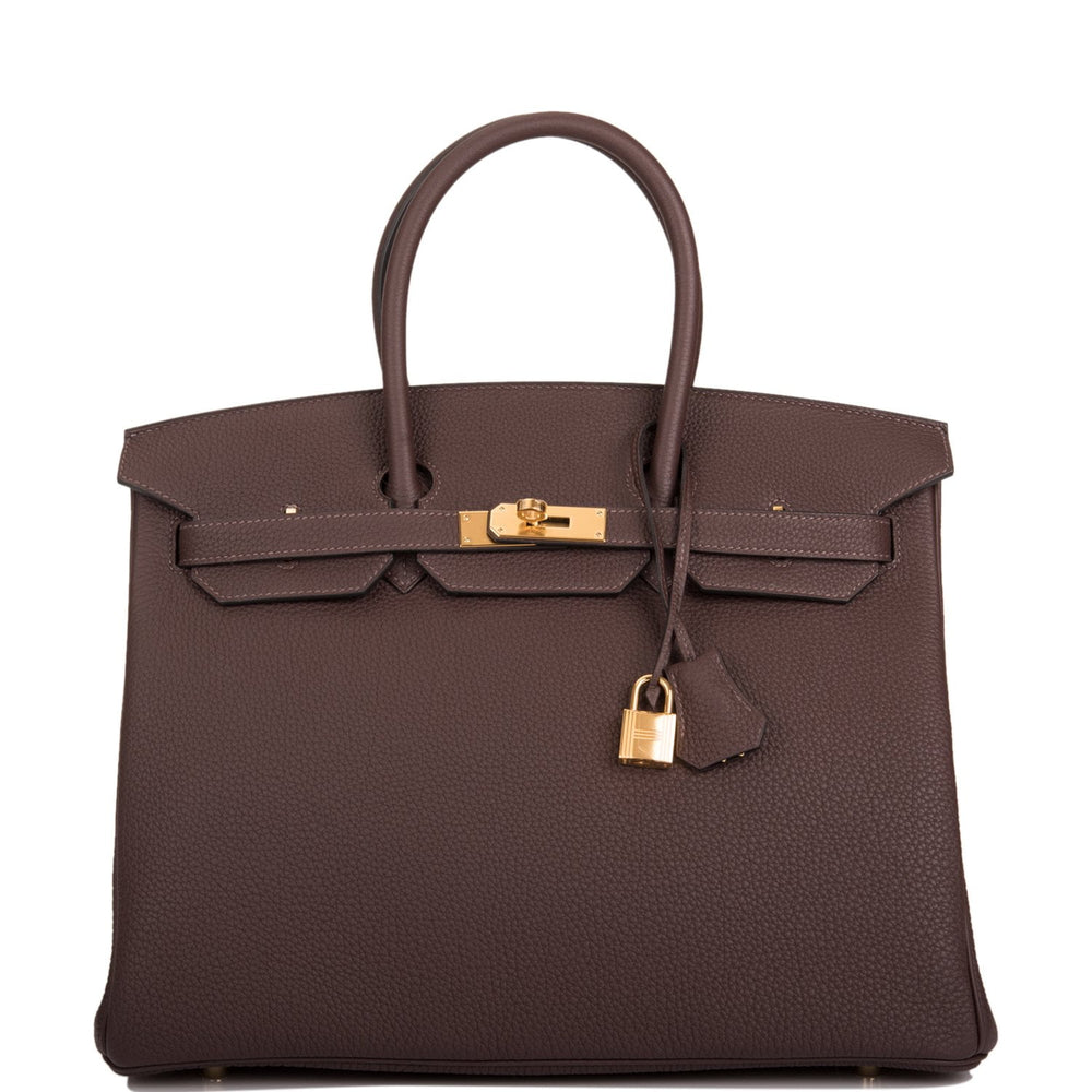 Hermes Chocolate Togo Birkin 35cm Gold Hardware
