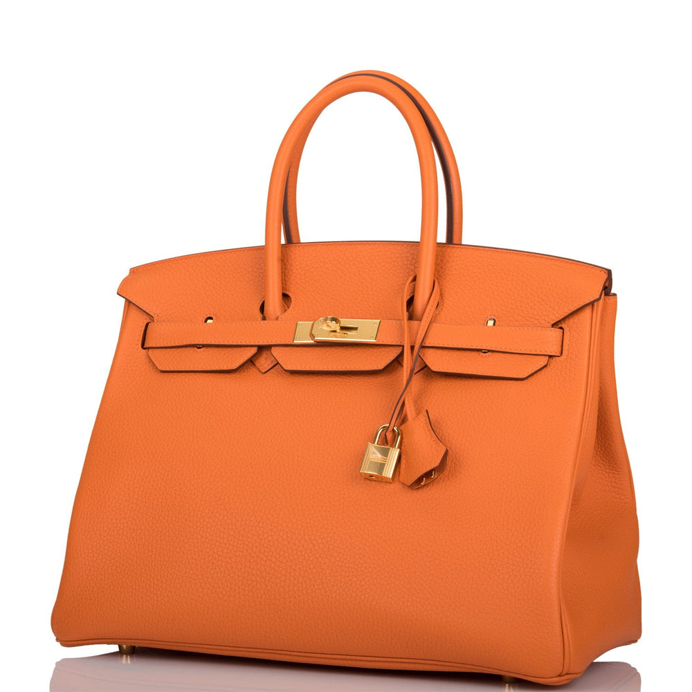 Hermes Orange H Clemence Birkin 35cm Gold Hardware