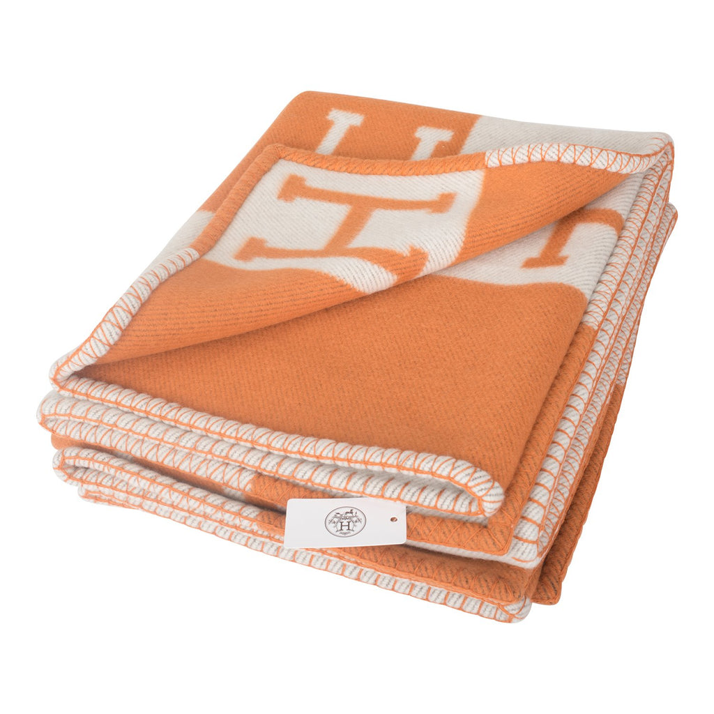 Hermes New Classic Avalon Potiron and Ecru Blanket