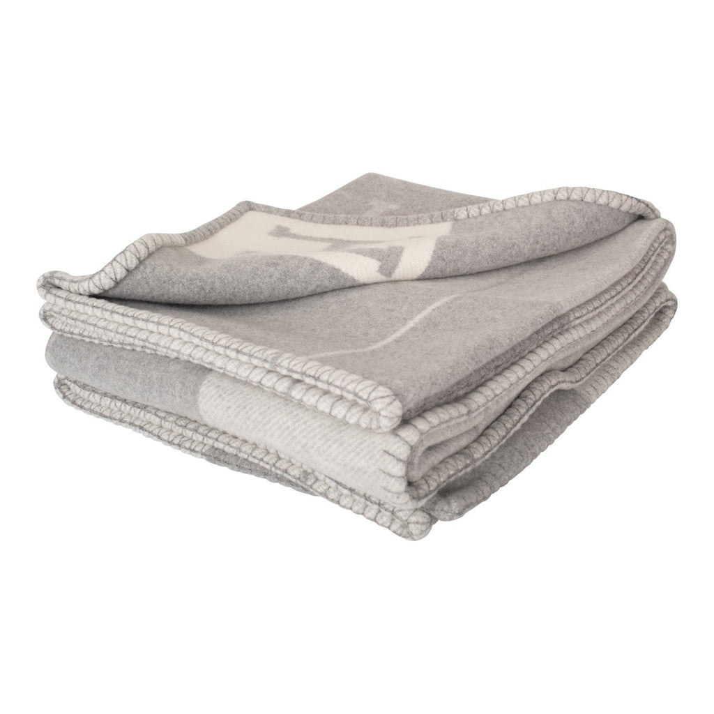 Hermes New Classic Avalon Light Grey and Ecru Blanket