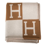 Hermes New Classic Avalon Camel and Ecru Blanket