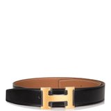 Hermes 32mm Reversible Black/Gold Constance H Belt 80cm Brushed Gold Buckle
