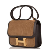 Hermes Ebene Velours Cotele and Swift Constance 24cm Gold Hardware