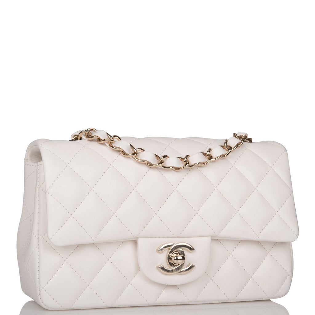 Chanel White Quilted Lambskin Rectangular Mini Classic Flap Bag Light Gold Hardware
