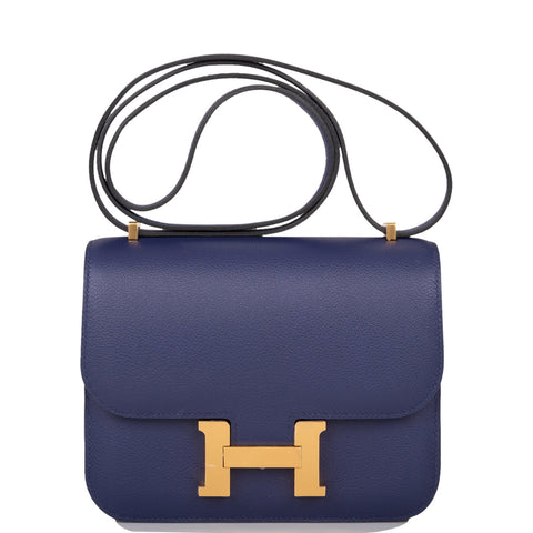Hermes Bleu Encre Evercolor Mini Constance 18cm Gold Hardware