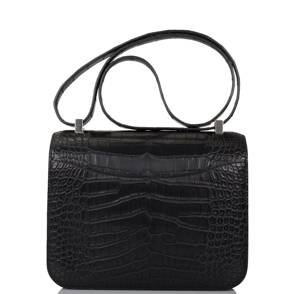 Hermes Black Matte Alligator and Ombre Lizard Marquette Constance 24cm Palladium Hardware