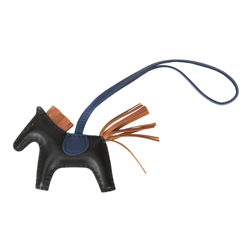 Hermes Black/Gold/Blue Sapphire Grigri Horse Rodeo Bag Charm PM