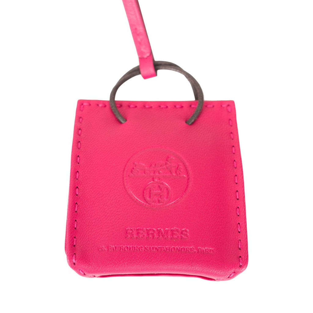 Hermes Rose Mexico Mini Shopping Bag Charm