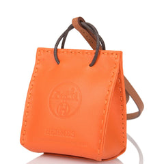 Hermes Orange Mini Shopping Bag Charm