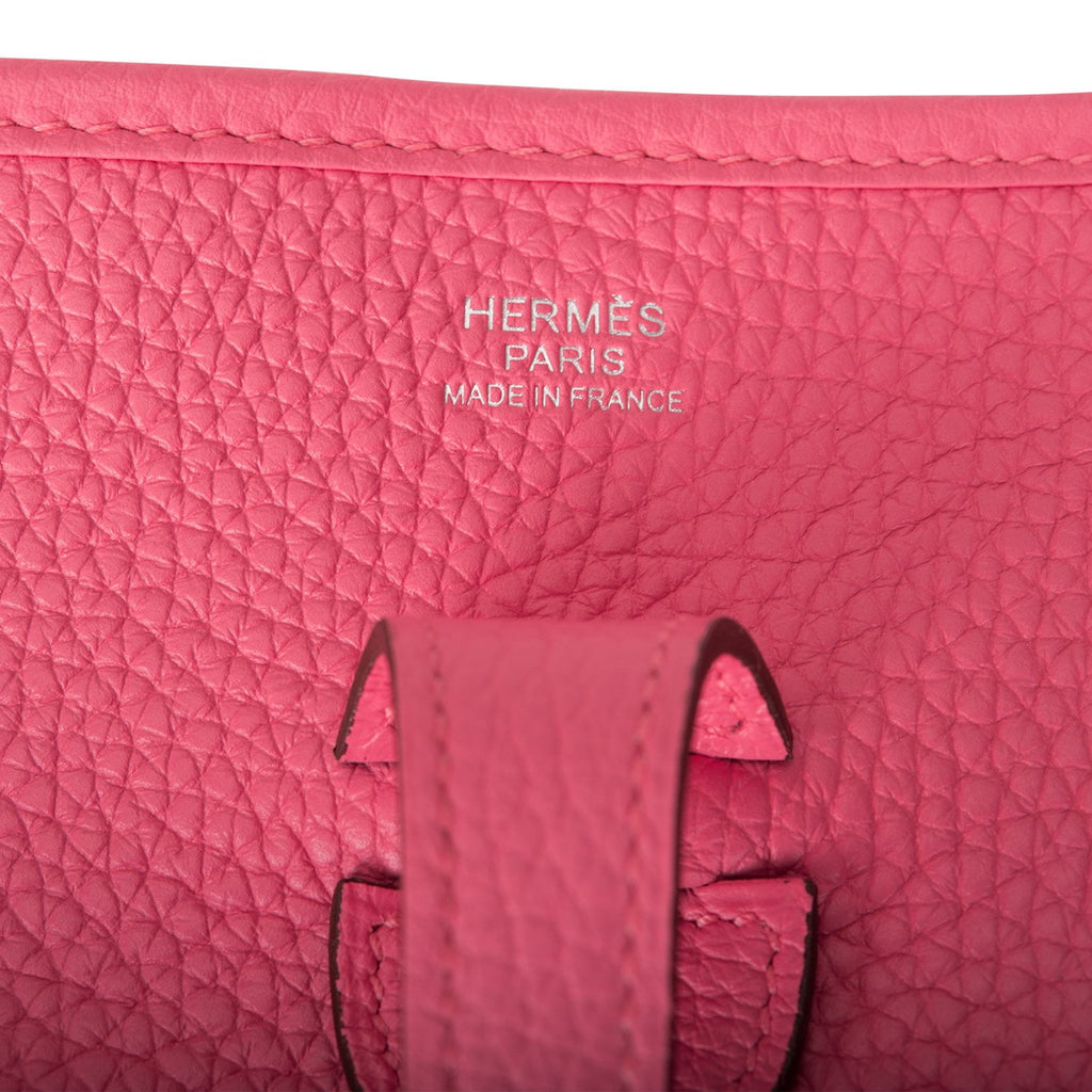 Hermes Rose Azalee Clemence Evelyne III PM Bag Palladium Hardware