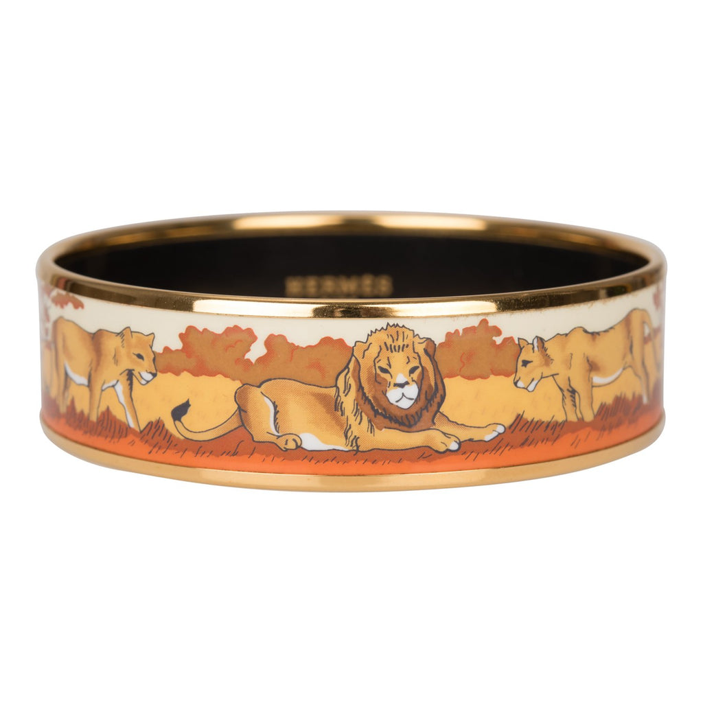 "Hermes ""Safari"" Wide Printed Enamel Bracelet PM (65) (Preloved - Excellent)"