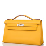 Hermes Jaune Ambre Swift Mini Kelly Pochette Palladium Hardware