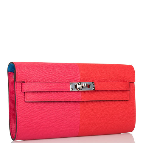 Hermes Tri-Color Rouge de Coeur/Rose Extreme/Bleu Zanzibar Epsom Kelly Wallet To Go Palladium Hardware