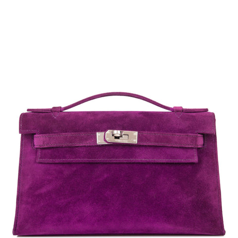 Hermes Violet Doblis Mini Kelly Pochette Palladium Hardware (Preloved - Excellent)