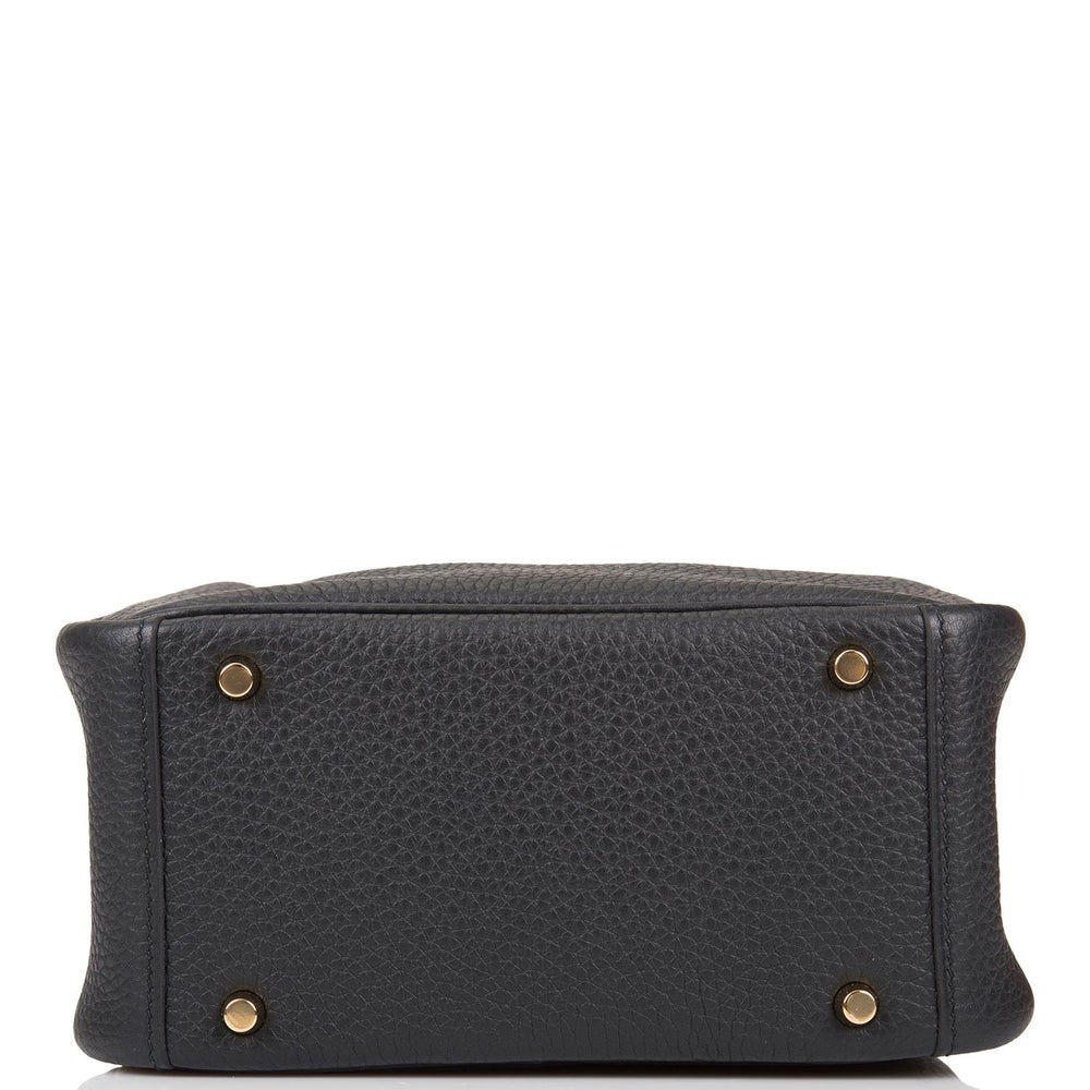 Hermes Black Clemence Mini Lindy Gold Hardware