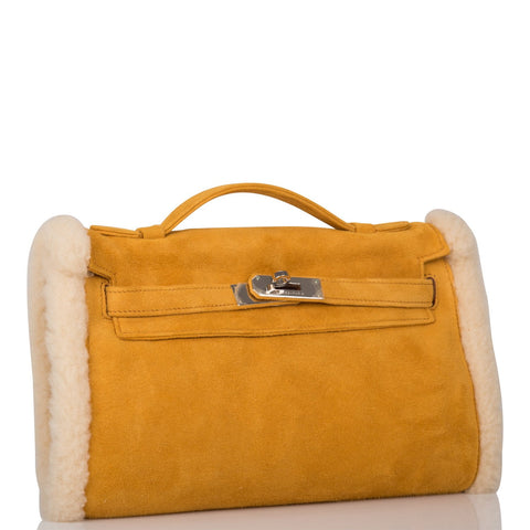 Hermes Sable Doblis and Shearling Teddy Kelly Muff Palladium Hardware
