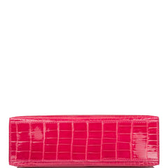 Hermes Rose Extreme Shiny Alligator Mini Kelly Pochette Palladium Hardware