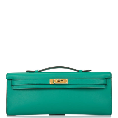 Hermes Vert Vertigo Swift Kelly Cut Gold Hardware