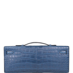 Hermes Bleu Tempete Matte Alligator Kelly Cut Palladium Hardware (Preloved - Mint)