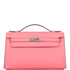 Hermes Rose D'ete Swift Mini Kelly Pochette Palladium Hardware