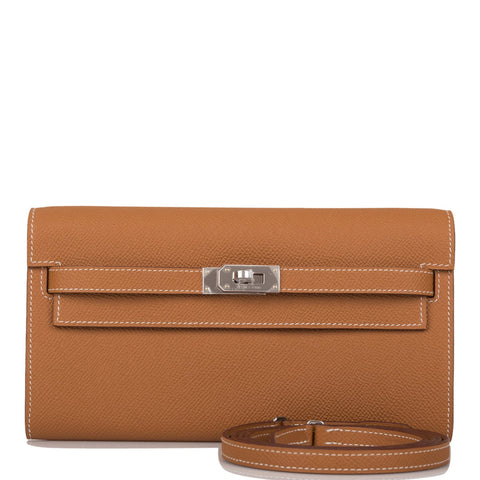 Hermes Etoupe Epsom Kelly Long Wallet Palladium Hardware