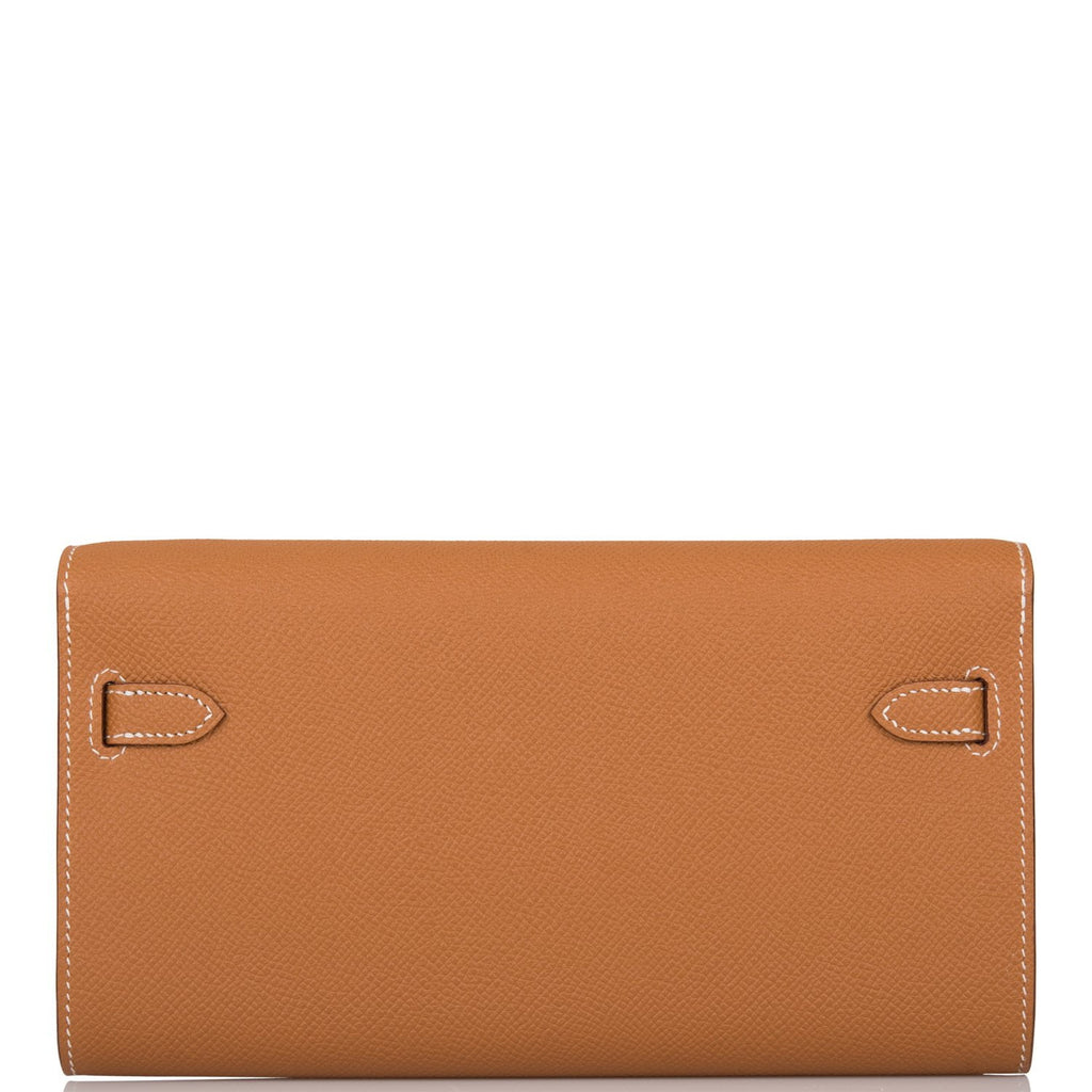 Hermes Gold Epsom Kelly Wallet To Go Palladium Hardware