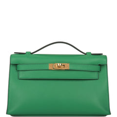 Hermes Bamboo Swift Mini Kelly Pochette Gold Hardware