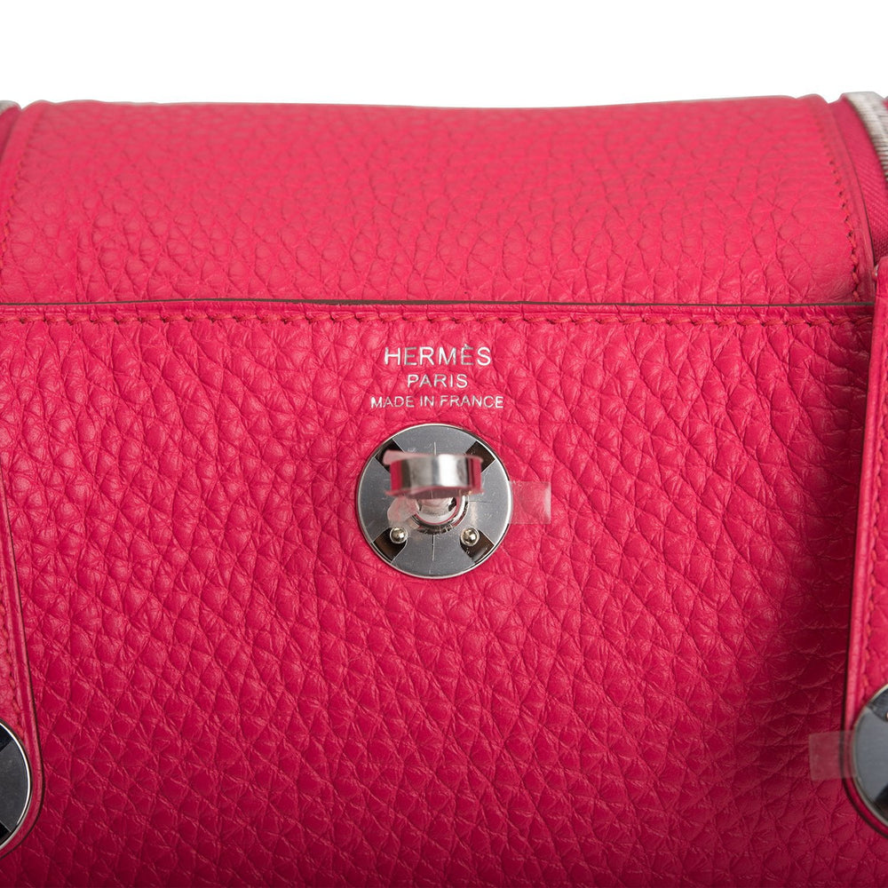 Hermes Rose Extreme Clemence Mini Lindy Palladium Hardware