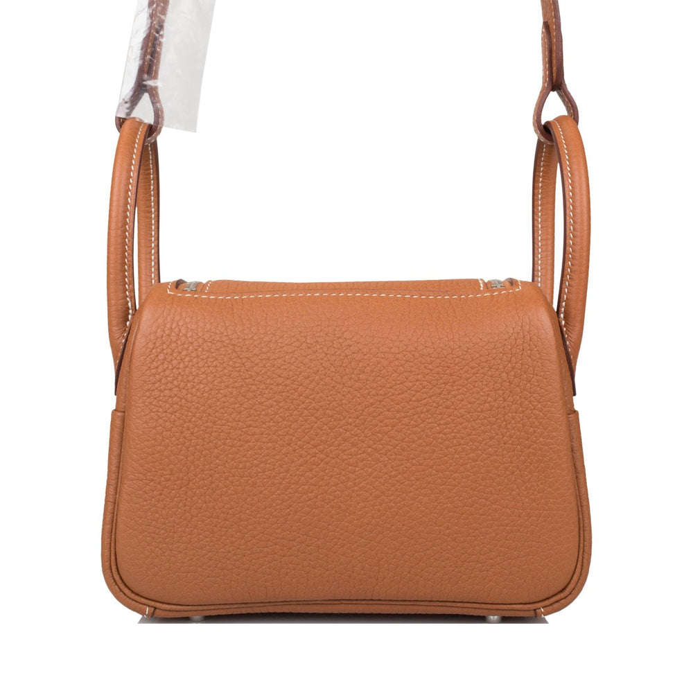 Hermes Gold Clemence Mini Lindy Palladium Hardware