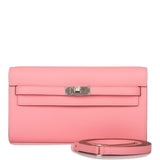 Hermes Rose Confetti Epsom Kelly Wallet To Go Palladium Hardware