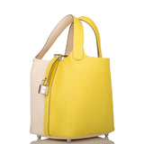 Hermes Bi-Color Lime and Nata Clemence Picotin Lock 18cm Palladium Hardware