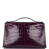 Hermes Cassis Shiny Alligator Mini Kelly Pochette Gold Hardware