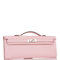 Hermes Rose Sakura Swift Kelly Cut Palladium Hardware