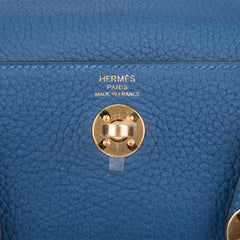 Hermes Deep Blue Clemence Mini Lindy Gold Hardware